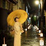 女性和装(和傘)縦